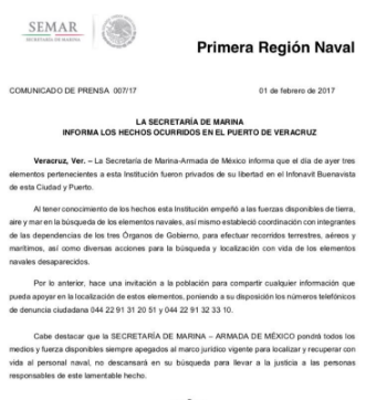 """Levantan"" a tres elementos de Semar en Infonavit Buenavista en Veracruz"