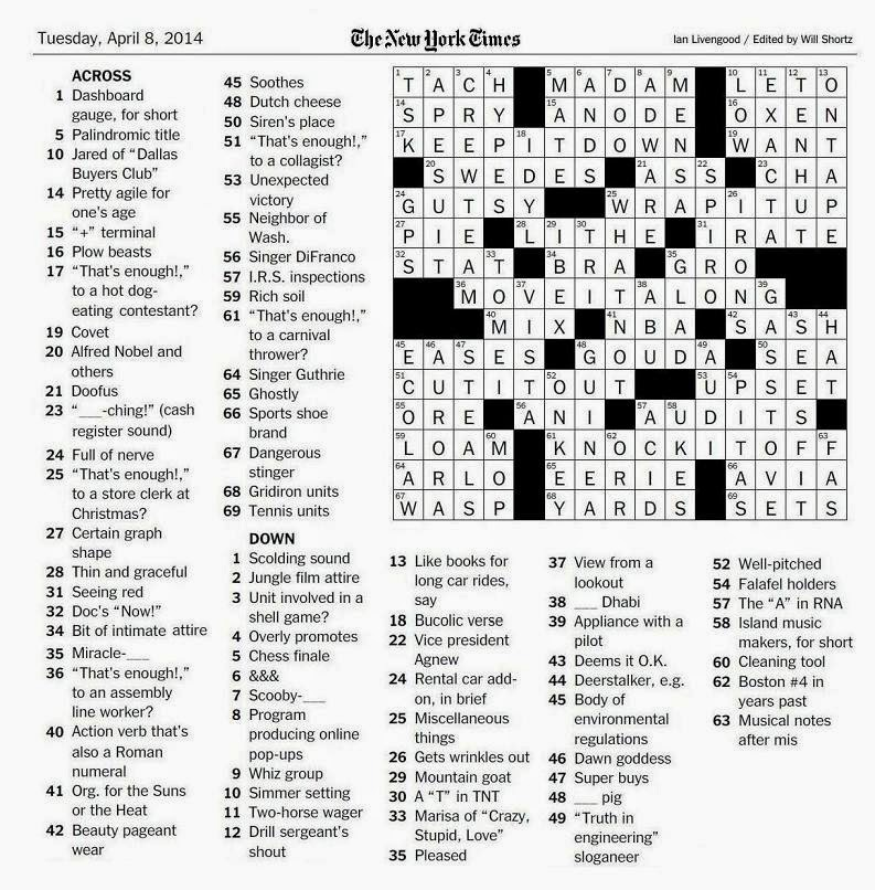 The New York Times Crossword in Gothic: 04.08.14 — Knock