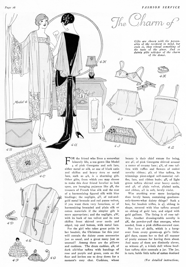 Simple to make tea gown and lingerie, bandeau, chemise mid 1920s