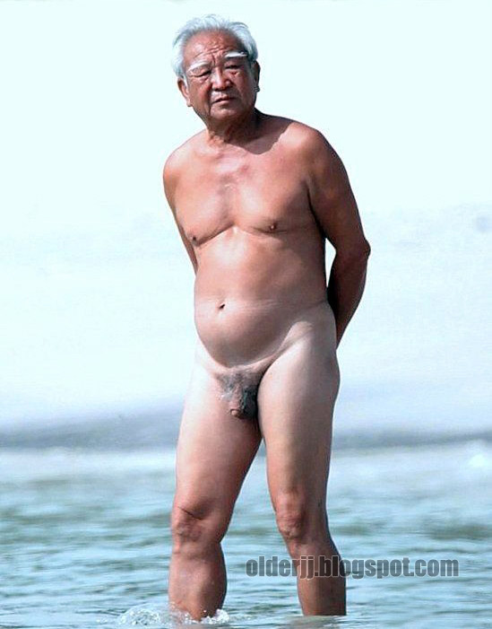 Love Old Man Silver Grandpa Naked On The Beach-8358