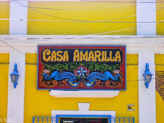 Cartel de casa amarilla en Caminito, Buenos Aires