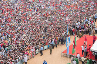 President Kenyatta at a JAP rally at Tononoka grounds in Mombasa. 12/03/2017. PHOTO | BANA