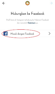 Setelah anda masuk ke tampilan seperti gambar dibawah ini , silahkan anda klik Masuk dengan facebook untuk melanjutkan proses menghubungkan dengan facebook.