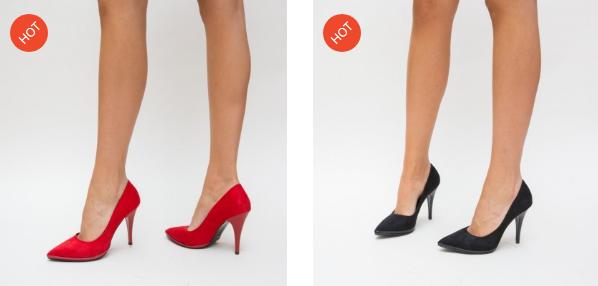 Pantofi negri, rosii cu toc inalt ieftini eleganti pentru nunta