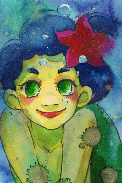 mermaid, Jane Davenport, Mermaid Markers, watercolor markers, watercolor illustration