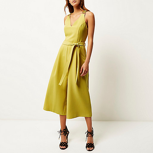 river island yellow jumpsuit, mustard culotte jumpsuit,
