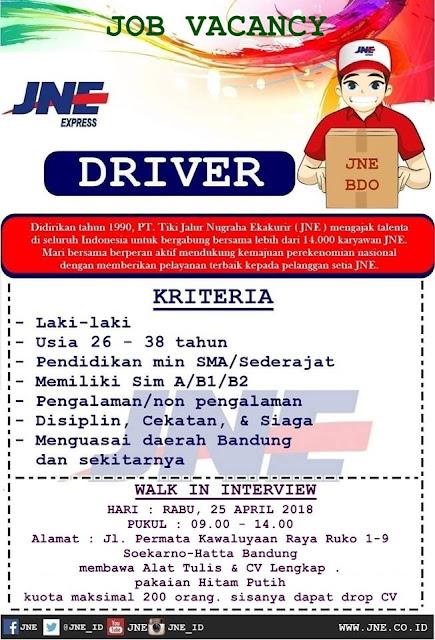Loker JNE Bandung 2018
