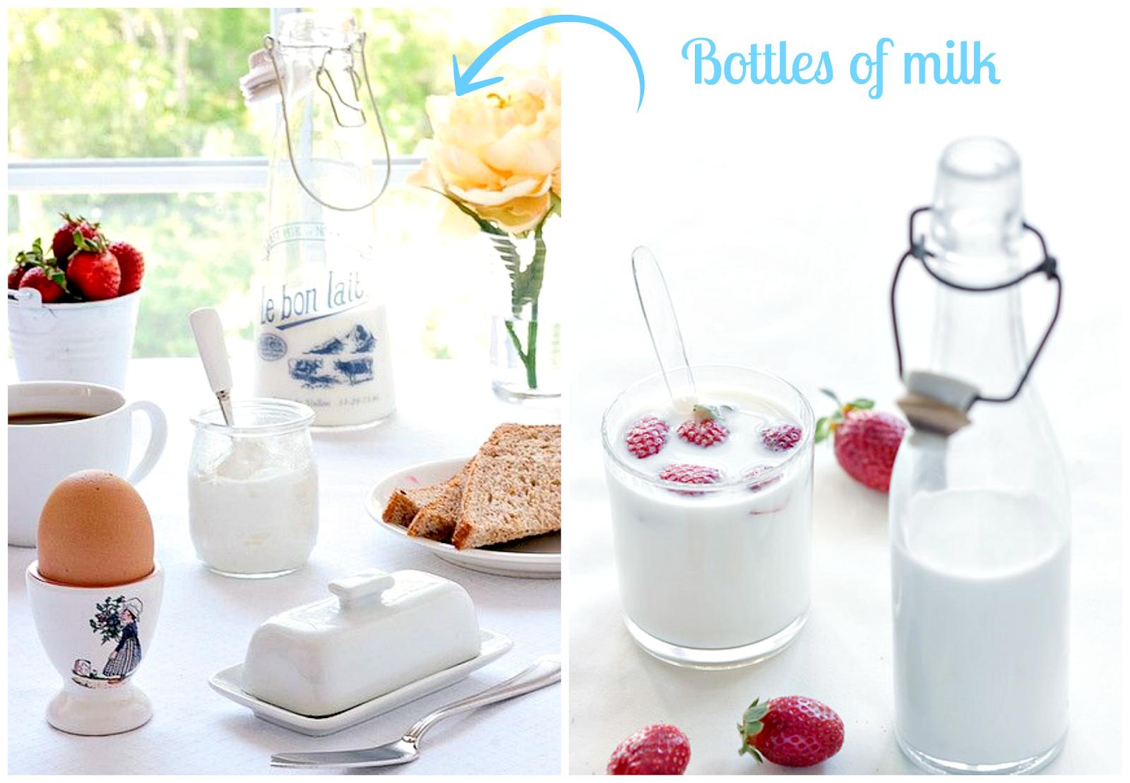 szklane butelki na mleko