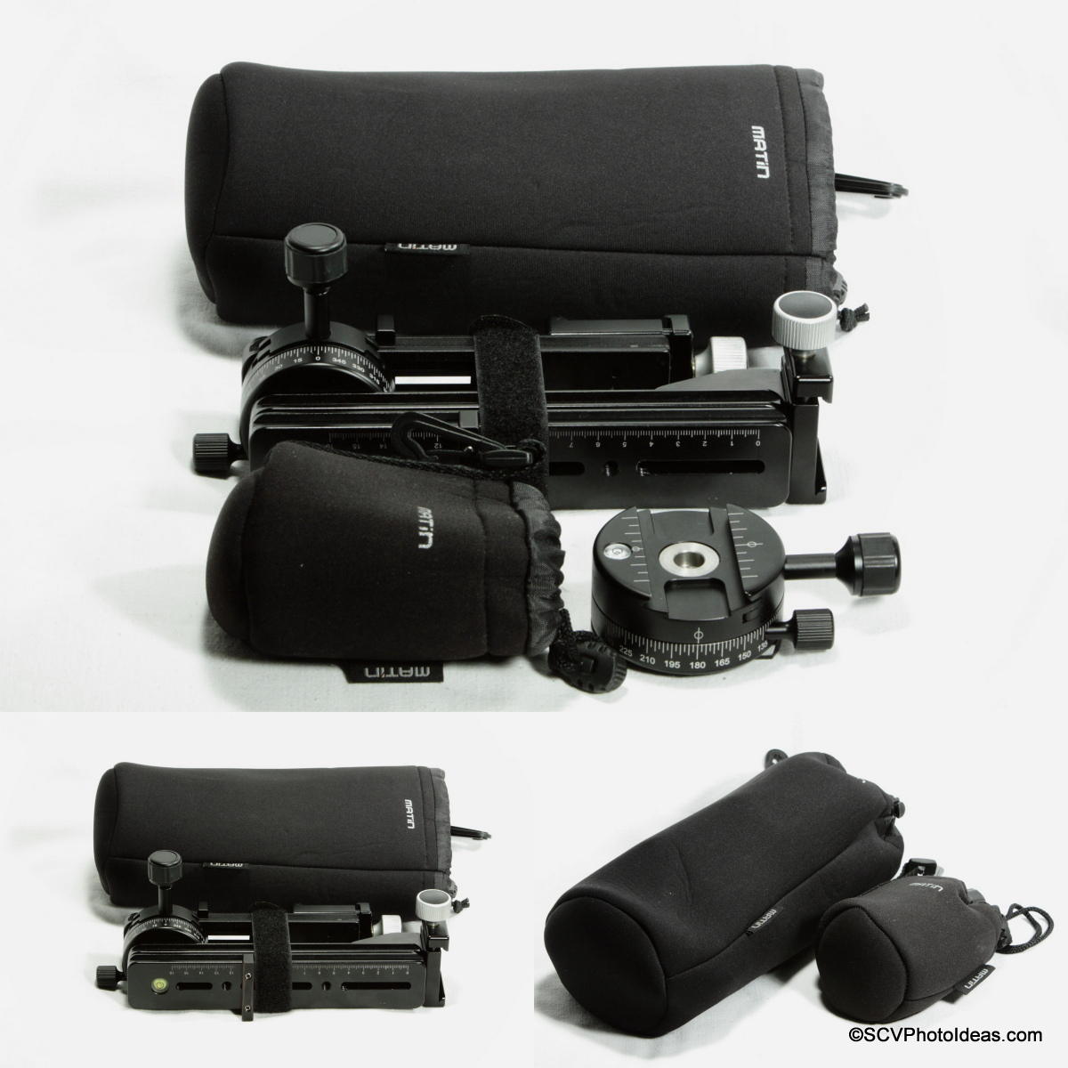 SCV Multirow head packed in Matin Neoprene Lens Pouches XL & M