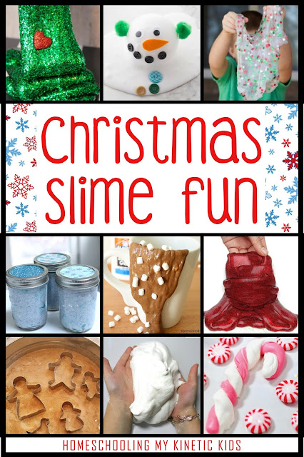 Christmas Slime // 45 Ways to Play During Winter Break // Homeschooling My Kinetic Kids // Keeping Kids Busy During Christmas // Slime Recipes // Play Dough // Sensory Bins // Handwriting Practice // Snow Play