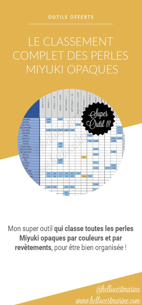guide complet miyuki, classement complet des perles miyuki delicas opaques 11/0 pour le tissage peyote, brickstitch, loom, metier a tisser, square stitch, pinterest