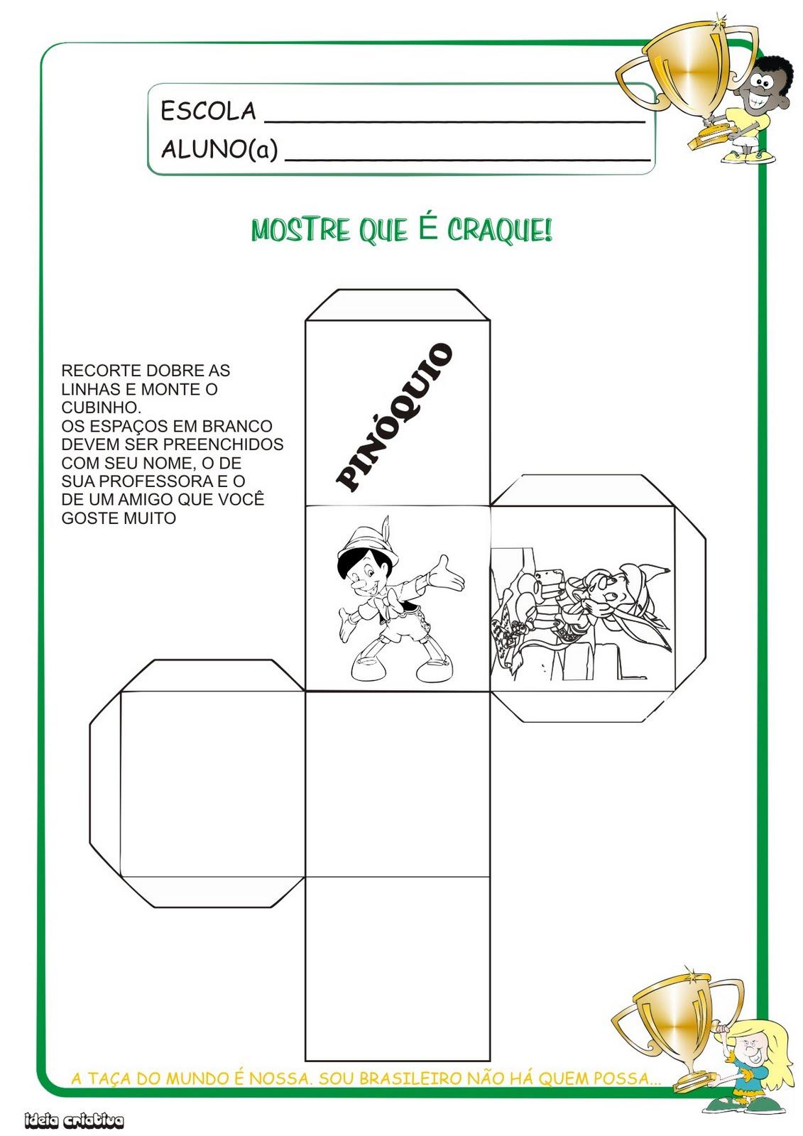 Atividade Geometria 1° Ano O Cubo Pinóquio
