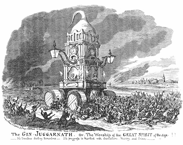 George Cruikshank drawing of the 'Gin Juggarnath'
