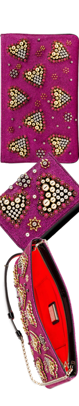 Christian Louboutin Loubiposh Heart-Studded Metallic Clutch