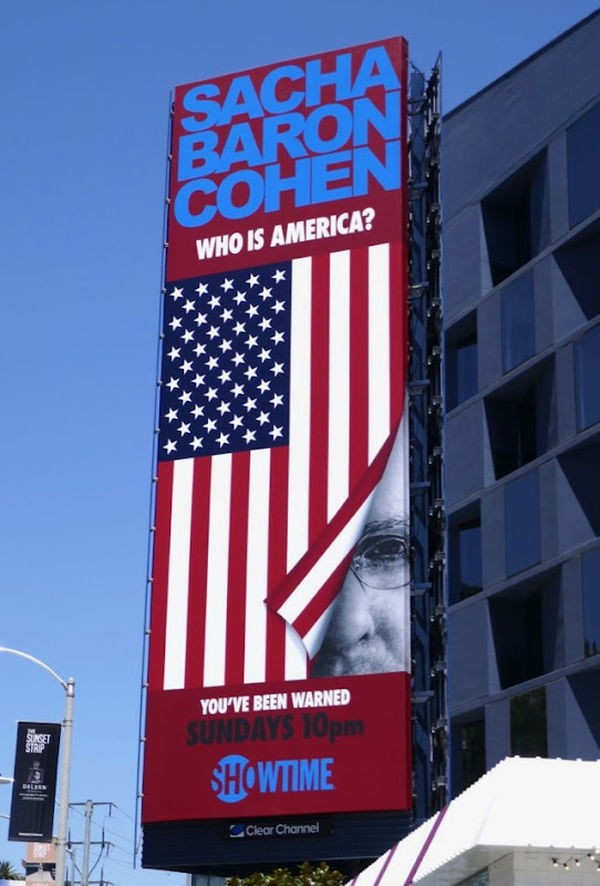 Sacha Baron Cohen Who is America billboard