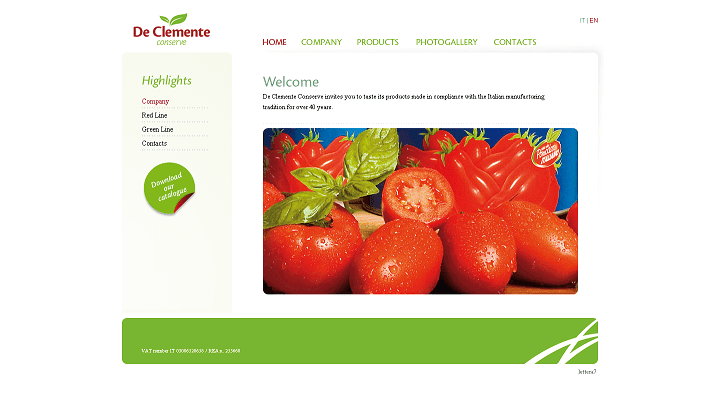 Picture to Italian food exporter company named De Clemente Conserve Spa