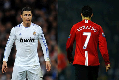 Cristiano Ronaldo playing for Real Madrid and Manchester United