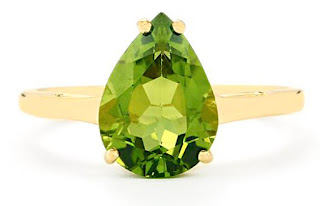 Changbai peridot ring in 9K gold from Gemporia