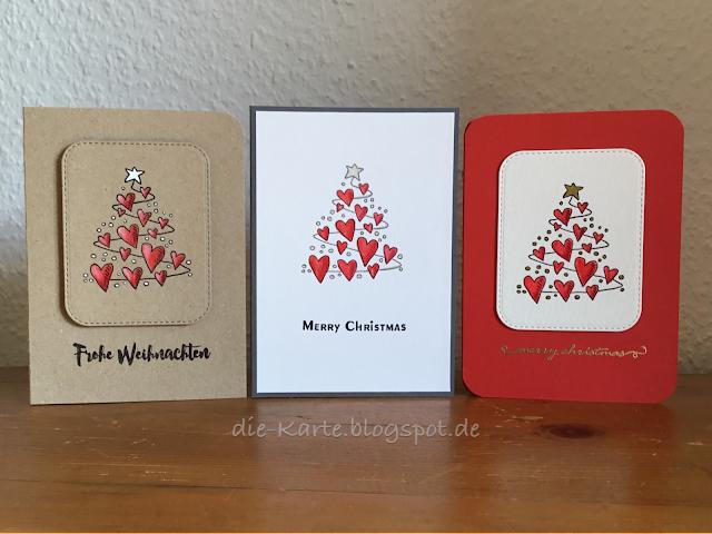 """""""Herzlicher Weihnachtsbaum"""" Heindesign, """"13 mal Frohe Weihnachten"""" Klartext Stempel, """"merry christmas"""" Stempelset Winter, Depot"""