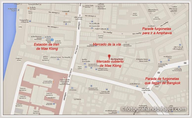 Mapa mercado de Mae Klong