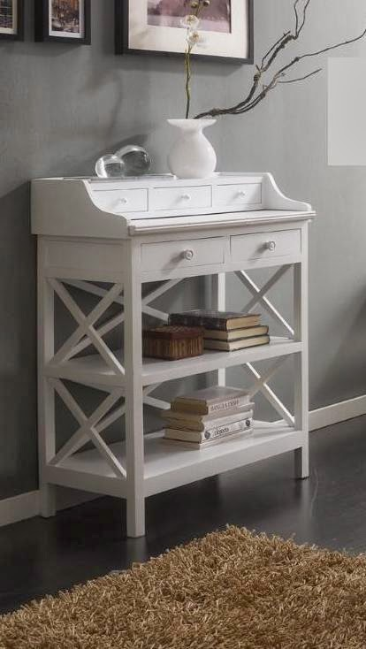 mueble escritorio blanco, mesa escritorio, mesa recibidor escritorio