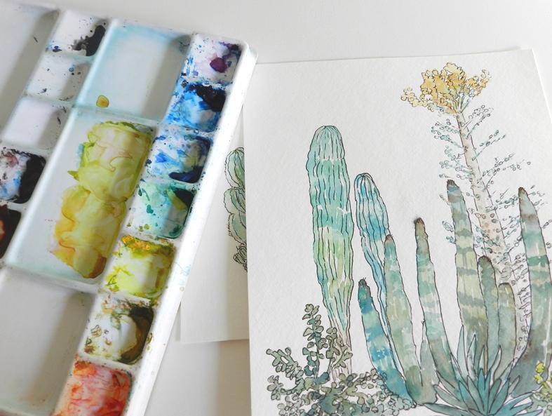 Original Watercolor Cactus Painting by Elise Engh: Grow Creative