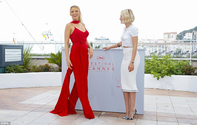 Pregnant Blake Lively in a red jumpsuit at the Cannes Film Festival 2016