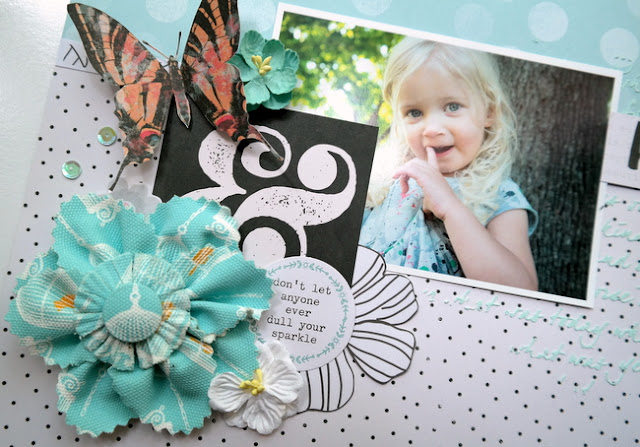 Polka Dot and Blue Flowers Mixed Media Scrapbook Layout with Fabric Embellishments
