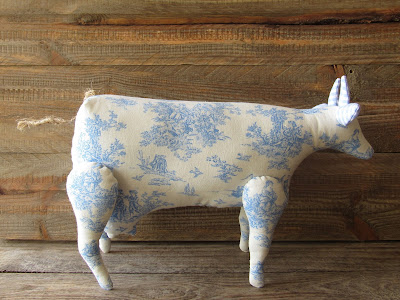 fabric cow Toile de Jouy blue white