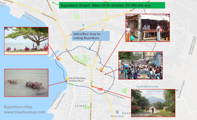 Tourist Map Bujumbura and best area for visit
