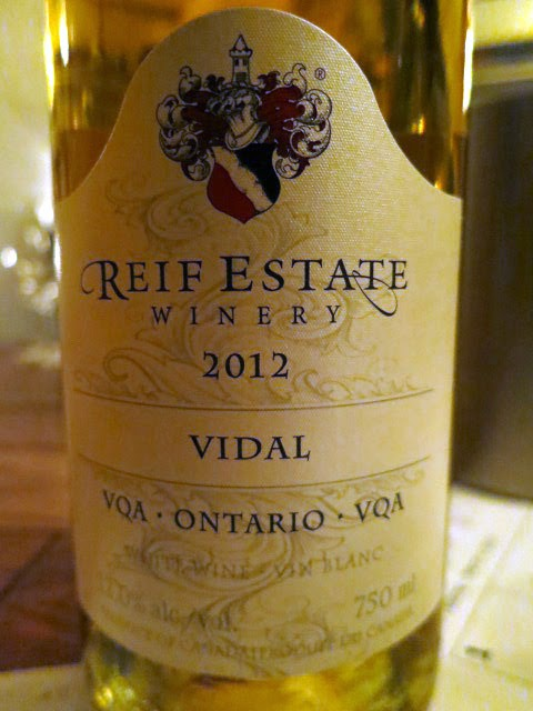 Wine Review of 2012 Reif Estate Vidal from VQA Ontario, Canada (80 pts)