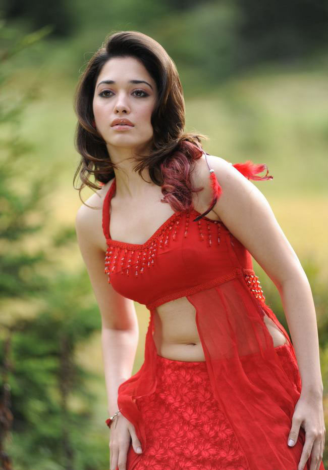 Tamanna Deep Navel Show Photos In Red Dress