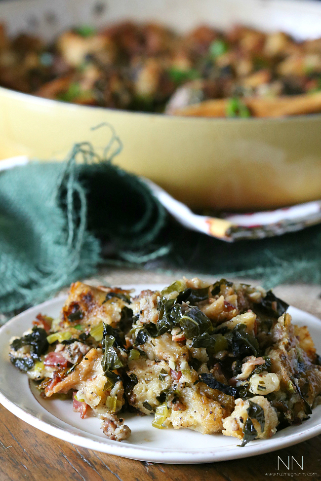 Sourdough Kale Sausage Bacon Stuffing by Nutmeg Nanny
