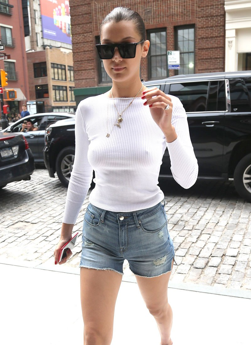 12e5cd7fcb Bella Hadid Goes Braless In Sexy See-Through Top - Akelicious