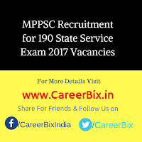 MPPSC Recruitment for 190 State Service Exam 2017 Vacancies