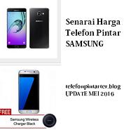 Harga telefon pintar Samsung Ogos 2016