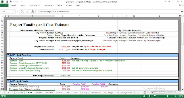 project management plan excel template engineering management