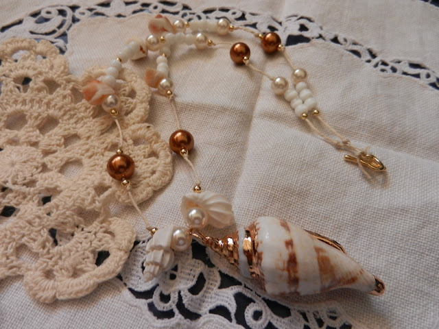brown pearl and shell necklace