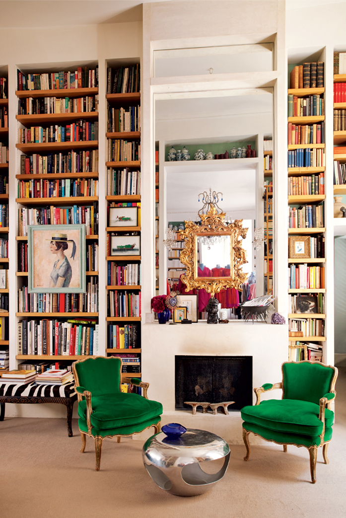 Everything about this room is perfection- those green velvet chairs are stunning!