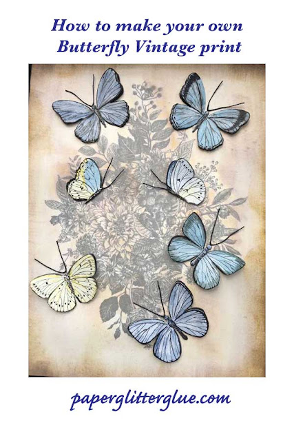 See how to make this vintage butterfly print at paperglitterglue.com