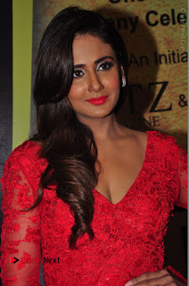 Actress Model Parul Yadav Stills in Red Long Dress at South Scope Lifestyle Awards 2016 Red Carpet  0040.JPG