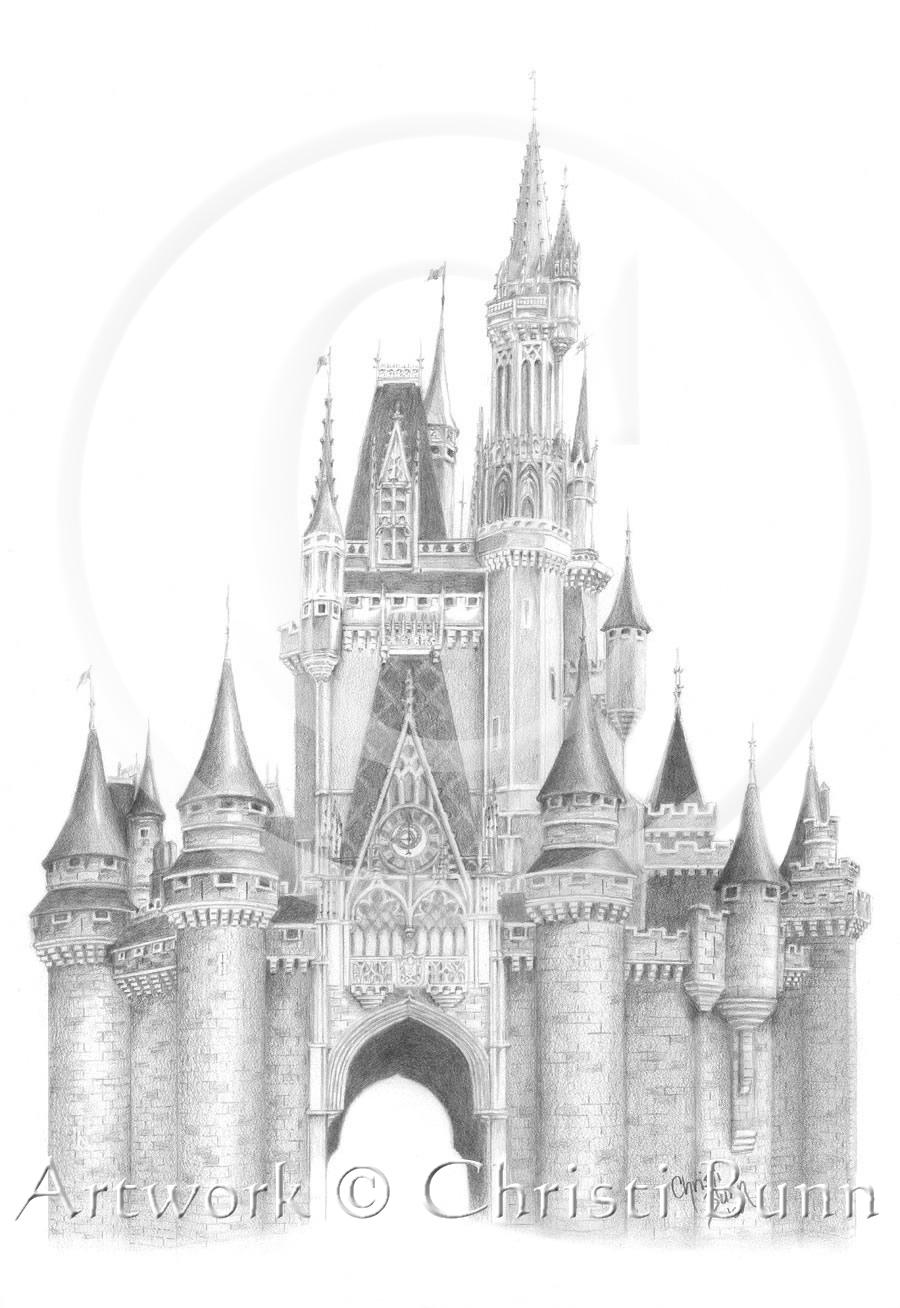 Where dreams live cinderella castle walt disney world 10 x 13 graphite