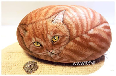 sassi dipinti a mano prezzi gatti