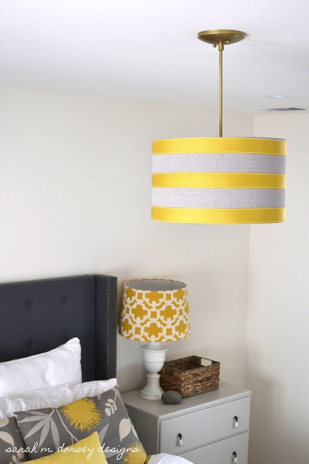 Sarah M Dorsey Designs Diy Drum Pendant Shade With Ribbon