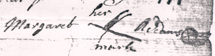 Mark of Margaret Adams on the Original 1744 Will