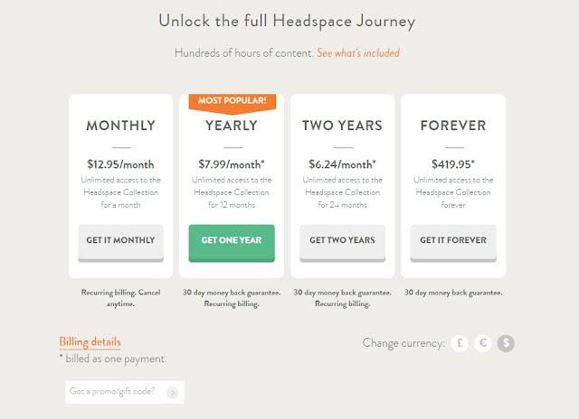 Ціни підписки на додаток Headspace