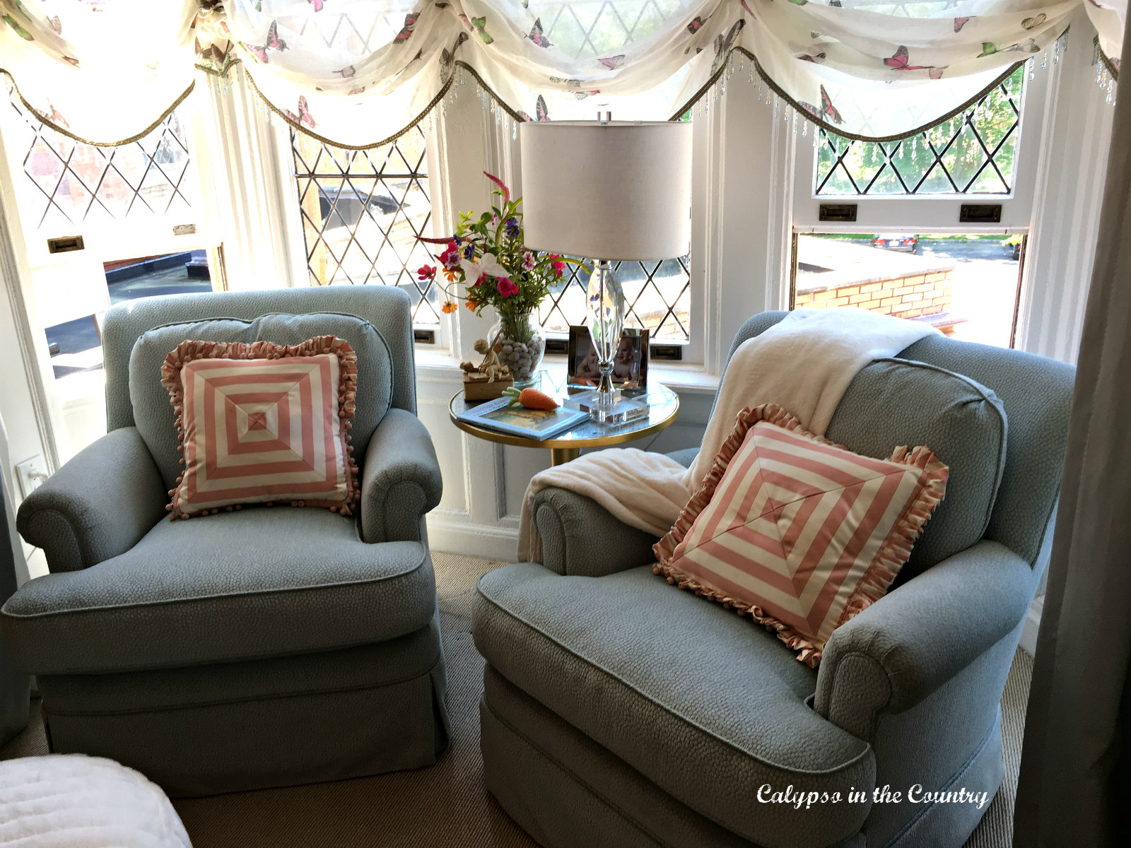 Window seating in a designer showhouse nursery
