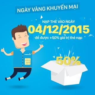 Vinaphone khuyến mãi nạp thẻ trả trước 50% ngày 4/12/2015