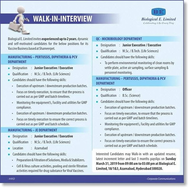 Biological E Limited Walk In Interview For Manufacturing and QC Department on 31 March 19