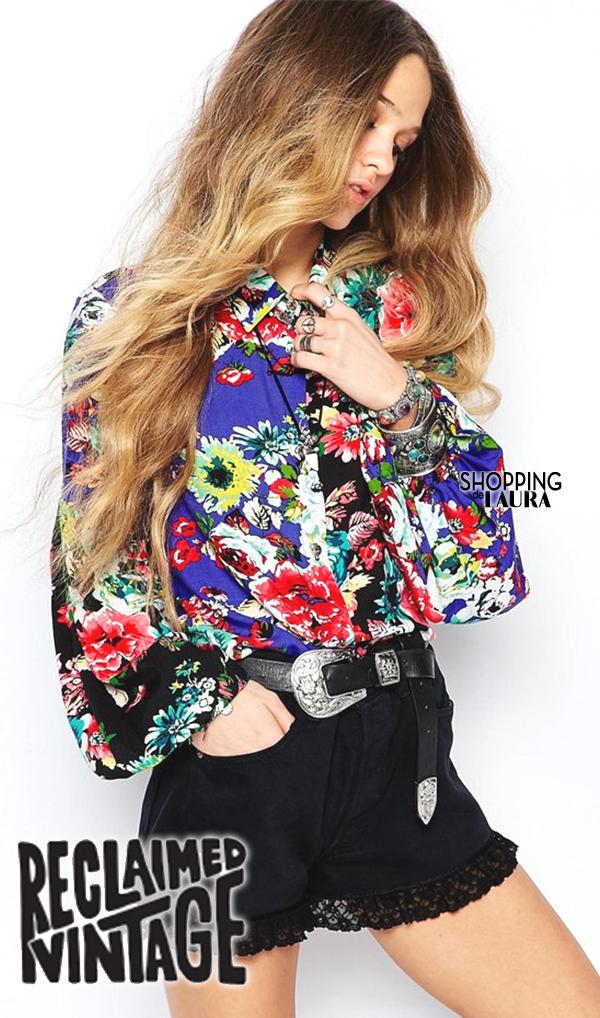 Chemise femme tendance : à motif fleurs RECLAIMED VINTAGE
